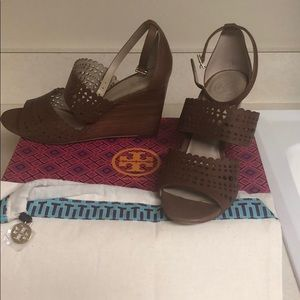 Tory Burch brown wedge sandals, size 7.